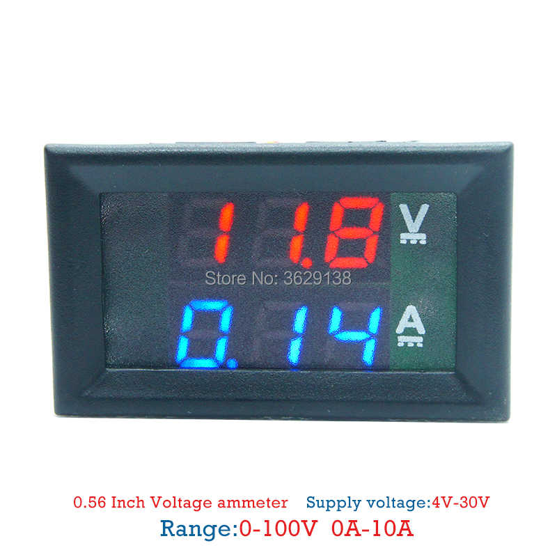 "Mini Digital Voltmeter Ammeter DC 100V 10A Panel Amp Volt Voltage Current Meter Tester 0.28"" Blue Red Dual LED Display"
