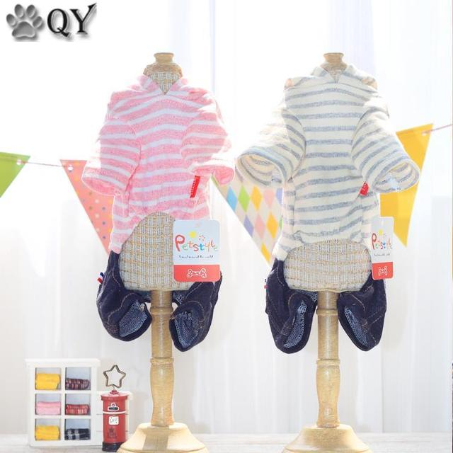 Striped Denim Winter Warm Dog Pajamas Jumpsuits Yorkie Maltese Chiwawa Clothing For Dogs Pet Puppy Cat Cute Small Dog Clothes