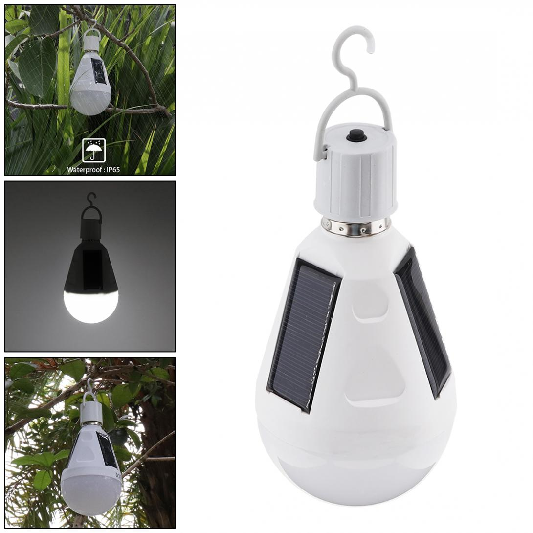 Portable AC85-265V 7W LED Lamp Waterproof Solar Emergency Bulb Outdoor Light with Switch Button for Camping / Hiking / Fishing