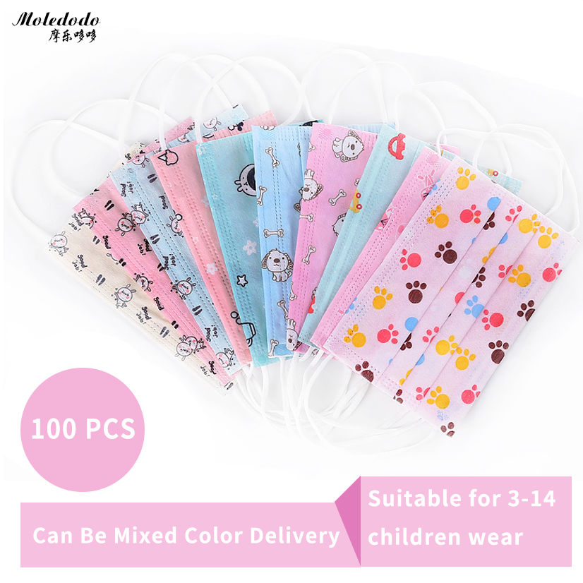 Moledodo 100 stks / zak anti-fog nevel stof ademend kinderen maskers - Gezondheidszorg