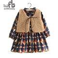 Розничная 2-8 лет наборы шерсть Жилет + плед полный рукав dress дети дети весна осень осень зима