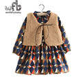 Retail 2-8 years sets Wool blends Vest + plaid full-sleeve dress kids children spring autumn fall winter