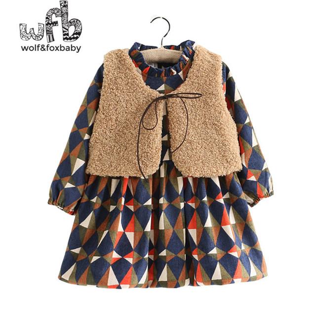 Venta al por menor 2-8 años establece chaleco + plaid lana mezclas full-manga dress kids niños primavera otoño otoño invierno