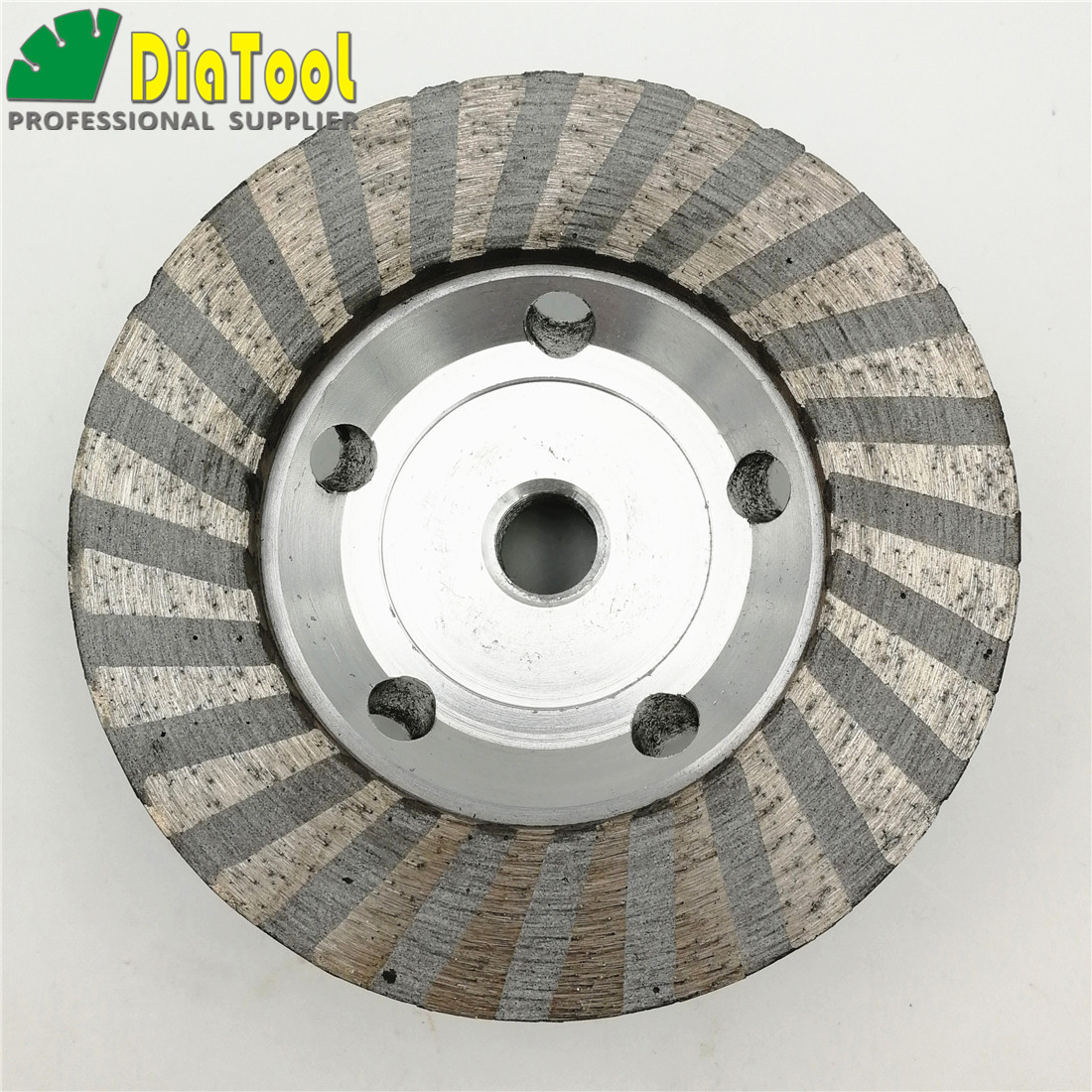 DIATOOL 1pc Diameter 4 inch M14 Thread Aluminum Based Diamond Grinding Cup Wheel Fine Grinding Lower Noise Diamond Discs 2pk diamond double row grinding cup wheel for granite and hard material diameter 4 5 115mm bore 22 23mm with 16mm washer