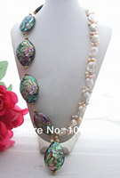 Bead Nucleated Pearl&Abalone Shell Necklace