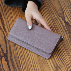 Image 1 - Genuine Leather Women Wallet Fashion Solid Color Coin Purse Multifunctional Cowhide Female Long Women Purses Zipper Card Holder