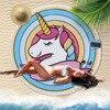 Cute Pink Cartoon Unicorn Pony Microfibre Round Beach Towel