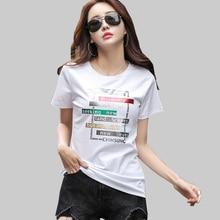 shintimes Print T Shirt Women Plus Size Summer 2019 Letter T Shirt Short Sleeve Tshirt Female Cotton Woman Clothes T-Shirt Femme недорого