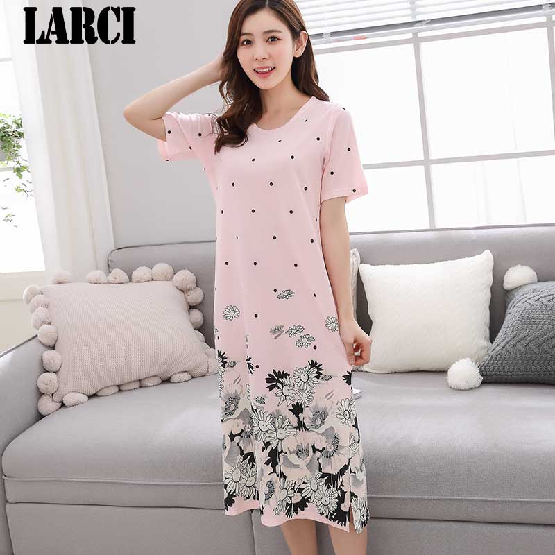 LARCI summer 2018 Sexy women cotton dress Nightgown pink Nightwear Dress plus size Sleepwear nightdress Home Sleepshirt C815