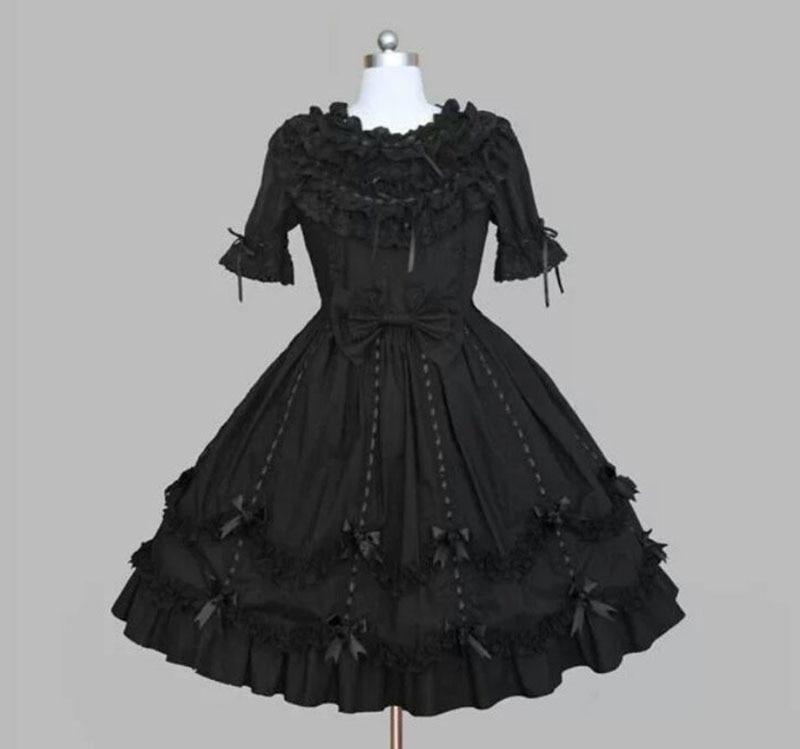 18th Century Black Gothic Lolita Jurken Retro Zomer O-hals Korte Mouw Bladerdeeg Kant Boog Baljurken Dameskleding Aangepaste Quell Summer Thirst
