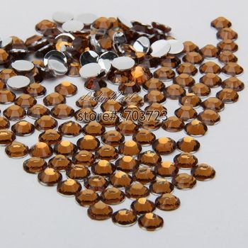 400 pcs 2mm - 6mm Mix Size Coffee Brown Resin Acrylic Round Rhinestone Flatback Crystal Rhinestones Nail Art Decoration N18 image