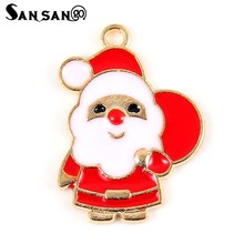 Colorful Enamel Christmas Santa Claus Alloy Charms Pendant