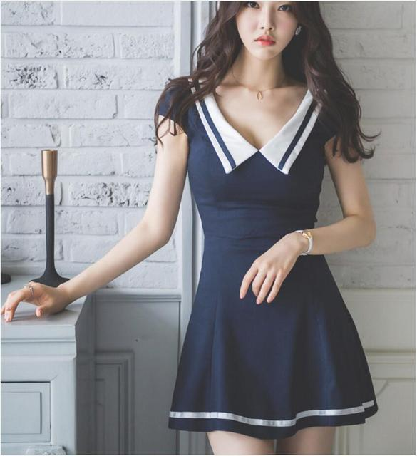 61 DressIn 2018 Korean Color 29Off vestidos Academy Wind Nightclubs South Sexy Uniform Navy Lapel Of Us15 Collect Waist Freeshiping kXZiPuOT