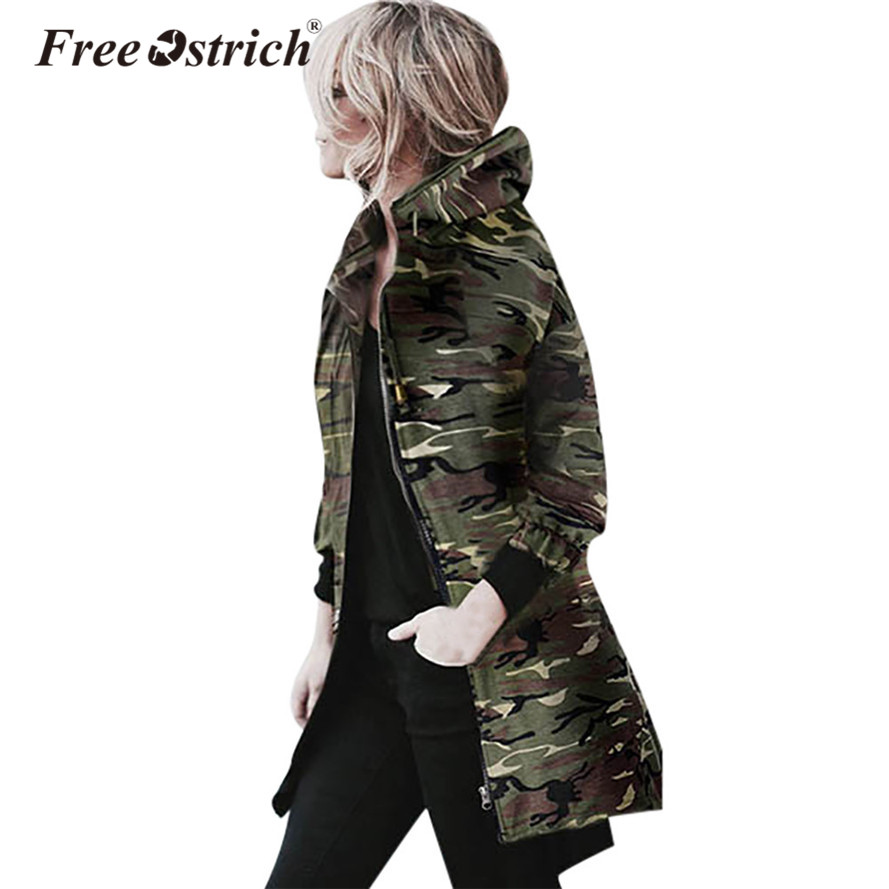 Free Ostrich Jacket Camouflage Coat Women 2018 Fashion Long Sleeve Loose Hooded Casual Zipper Outwear Jacket Dropshipping De26