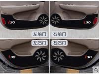 New Car Door Inner Side Anti kick Anti Kick Protective Carbon Fiber Plate Flim Decal Sticker For Hyundai i30 ix 35 4Pcs