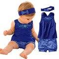 Ropa del bebé fija 2017 nuevos trajes de bebé azul/mono del bebé/ropa de la subida pañuelo + mangas dress + guinga pantalón a cuadros