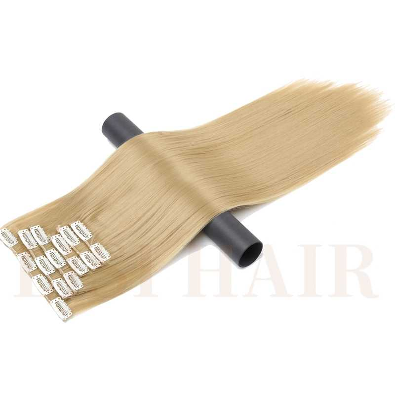 LISI HAAR Synthetische 16 Clips in Hair extension 24 Inch Lange Synthetische Fake Valse Haarstukje Clip In Hair Extensions Hoge