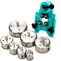Hole Saw Set  7 Hole Diamond Drill Bit With Hole Saw Guide Clamp  Coated Drill Bit  Adjustable Hole Saw Centering Vacuum Clean|Drill Bits|   -