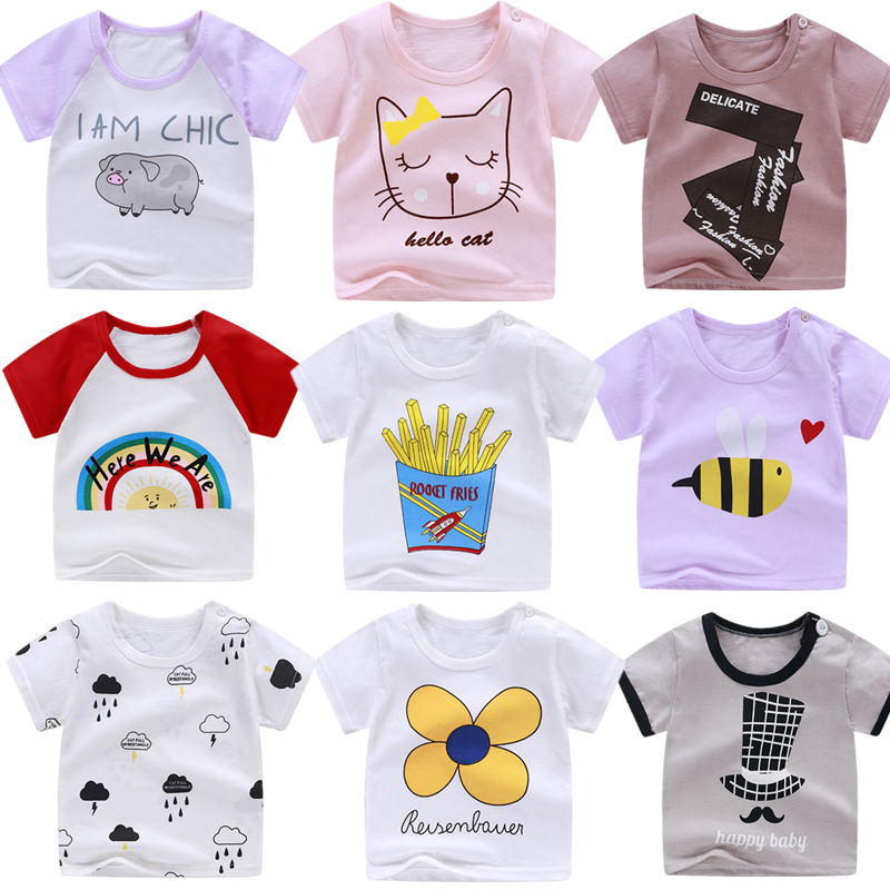 Newborn Baby Kids T Shirts for Girls Boys Tshirt Summer Cotton Cartoon Flower Rainbow Printing Tops T-shirt Children's Clothes