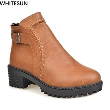 WHITESUN plus size boots women Martin boots autumn winter shoes female ankle boots buckle Retro style chunky heel short boots
