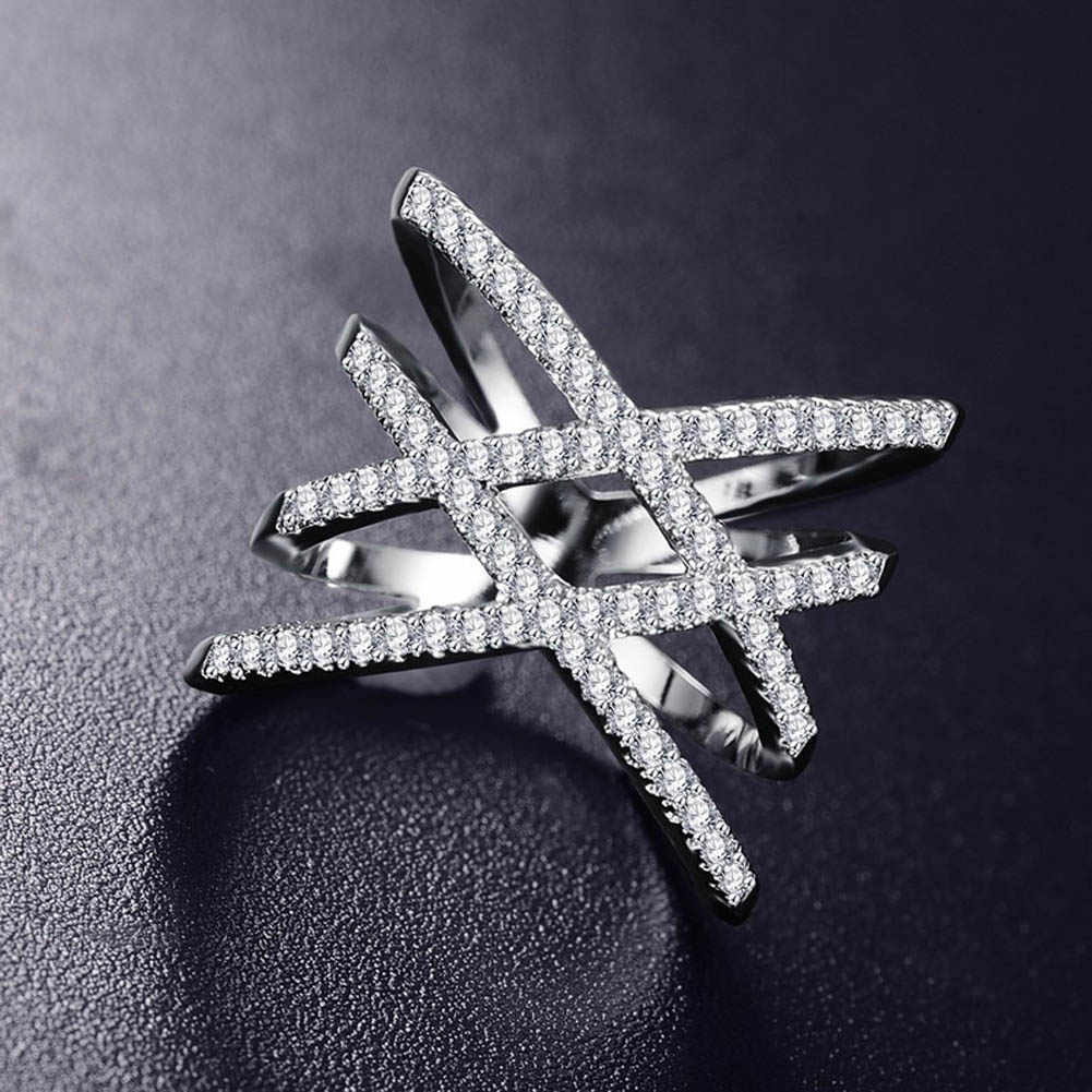 NEW Vintage Double Cross X Shape Rings For Women Zirconia Micro Paved Jewelry For Christmas Gift