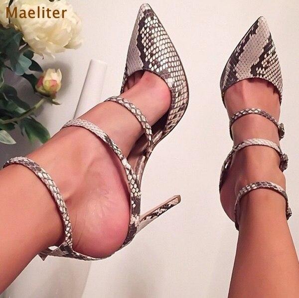 Gris Chaussures De Triple Mince Robe Peau Cheville Bbuckle Talons Sexy Bout Serpent Pompes Courroie Hauts As Picture Femmes Arrivée Pointu Automne Nouvelle Bwpnf