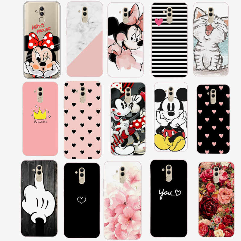Case on for Coque Huawei P20 Lite P30 Pro Mate 20 Lite P Smart 2019 Cases Flower Heart Soft Silicone Cover