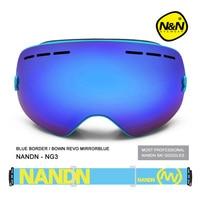 NANDN Exchengeable Lens Big Spherical Men Women Snowboard Sports Ski Goggles Double Lens Anti Fog Professional