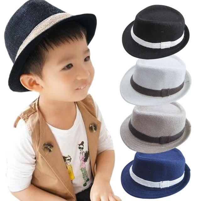 New Solid Color Baby Fedora Hats Linen Jazz Caps Children Top Hat Kids Sun  Cap Topee 9aad727c373a
