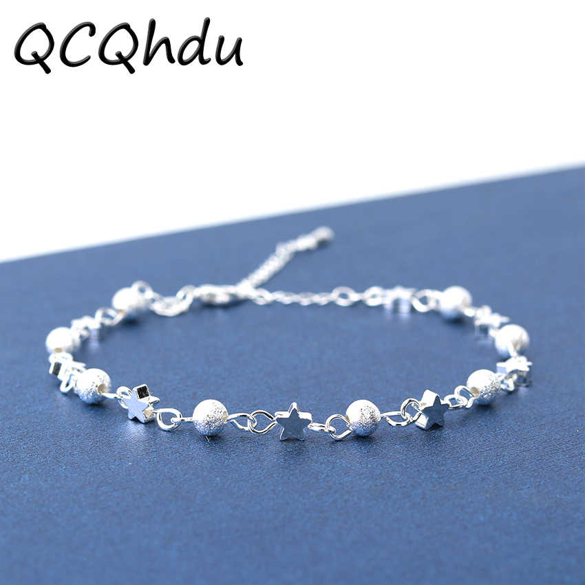 1PC New Brand Silver Plated Frosted Star Bracelet Anklet Ball Star Beads Charm Bracelet Bangle for Women Gift Jewelry