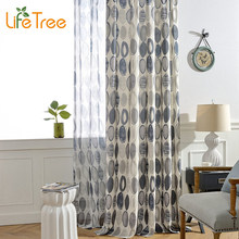 LifeTree Modern Curtains For Living Room Blue Red Circles Printed Bedroom Voile Curtain Kitchen Drapes Custom