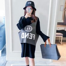 Pregnant women autumn suit 2018 new fashion loose long-sleeved out two-piece Korean version of the tide temperament knit skirt(China)