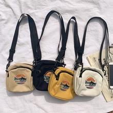 Женские холщовые сумки, Корейская мини Студенческая сумка, сумки для сотового телефона, простые маленькие сумки через плечо, повседневная женская сумка на плечо с клапаном
