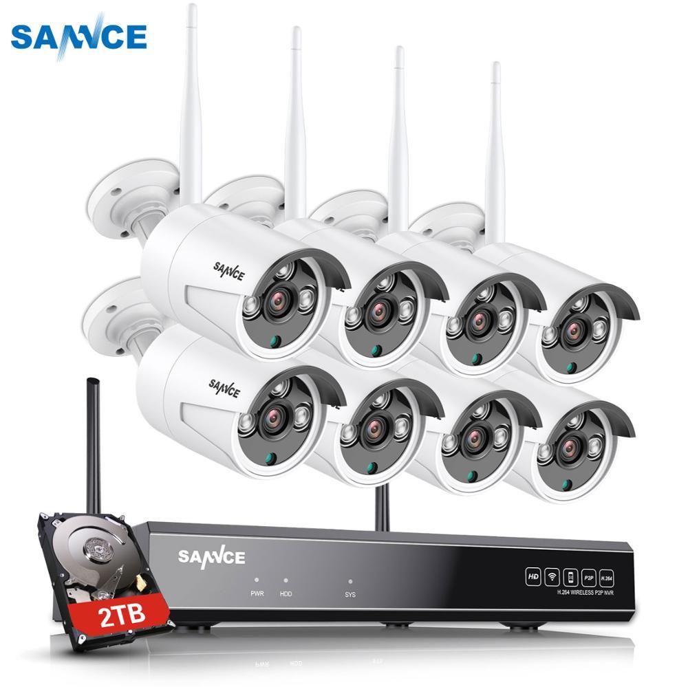 SANNCE 8CH 1080P HD Wifi NVR 2TB HDD CCTV Kamera System 1.3MP Wasserdichte Drahtlose Sicherheit Kamera 4/ 6/8 kamera Überwachung Kits