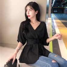 Women Casual V-Neck Chiffon Blouse Solid Slim Waist Short Sleeve Women