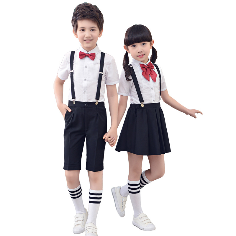 Children Cotton Korean Japanese School Uniform For Girls Boy White Shirt Black Skirt Shorts Set Tie Clothes Student Outfits Suit