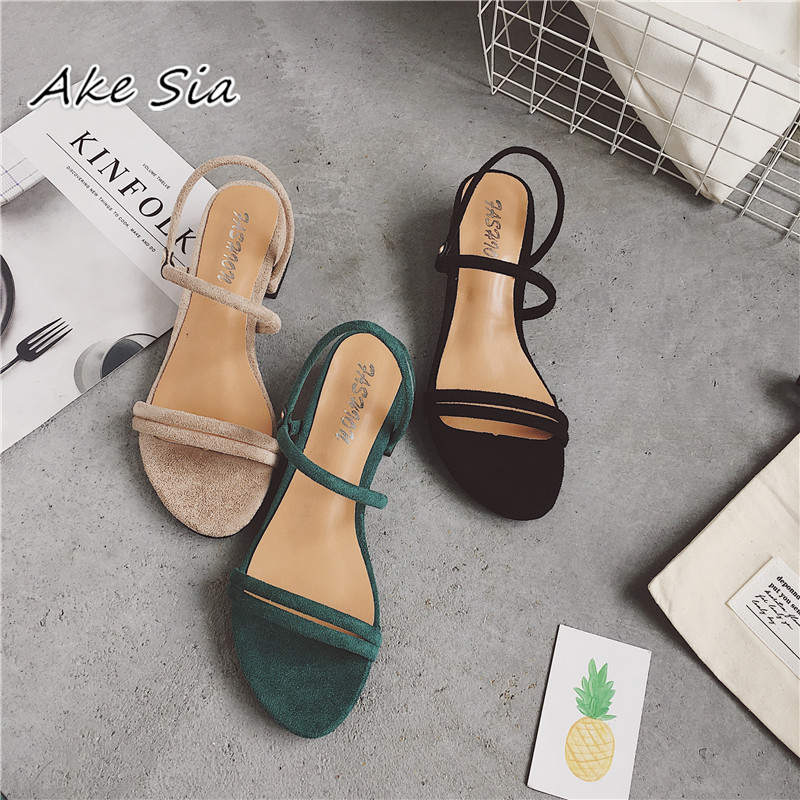 HTB1gKZ.OpzqK1RjSZFoq6zfcXXaj new Flat outdoor slippers Sandals foot ring straps Roman sandals low slope with women's shoes low heel shoes Sandals mujer
