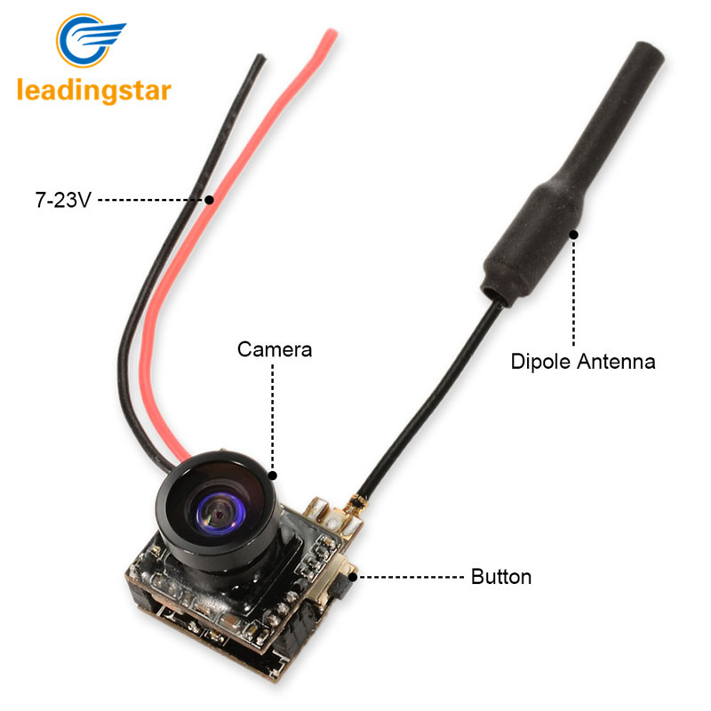 LeadingStar 5.8G 40CH 25mW 1/4 CMOS Sensor FPV Micro AIO Camera 800TVL 2.1mm Lens Antenna for 0.11oz Drone/Helicopter