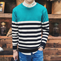 Hot Sale 2016 High Quality Fashion Comfortable New Temperament Men Sweaters O Collar Long Sleeved Knit Shirt Stripe Sweaters Men