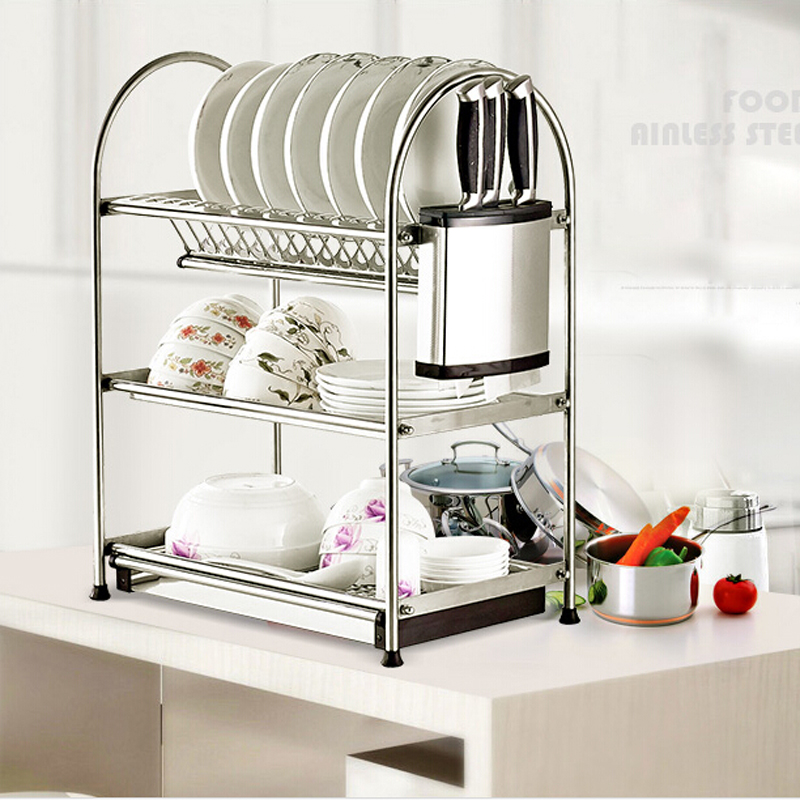 Multi-Functions Stainless Steel Free Standing Kitchen Knife/dish Rack Chrome Finished pedotransfer functions