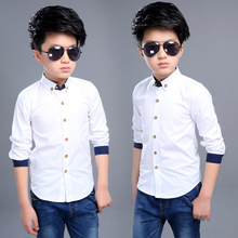 Boy White Formal Shirts Full Sleeve Cotton Kids Tops For Boy Shool Blouses 4 6 7 8 9 10 11 12 Years Students Children Clothing