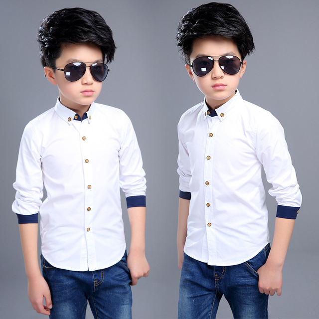 d2c81ced4 Boy White Formal Shirts Full Sleeve Cotton Kids Tops For Boy Shool Blouses  4 6 7 8 9 10 11 12 Years Students Children Clothing