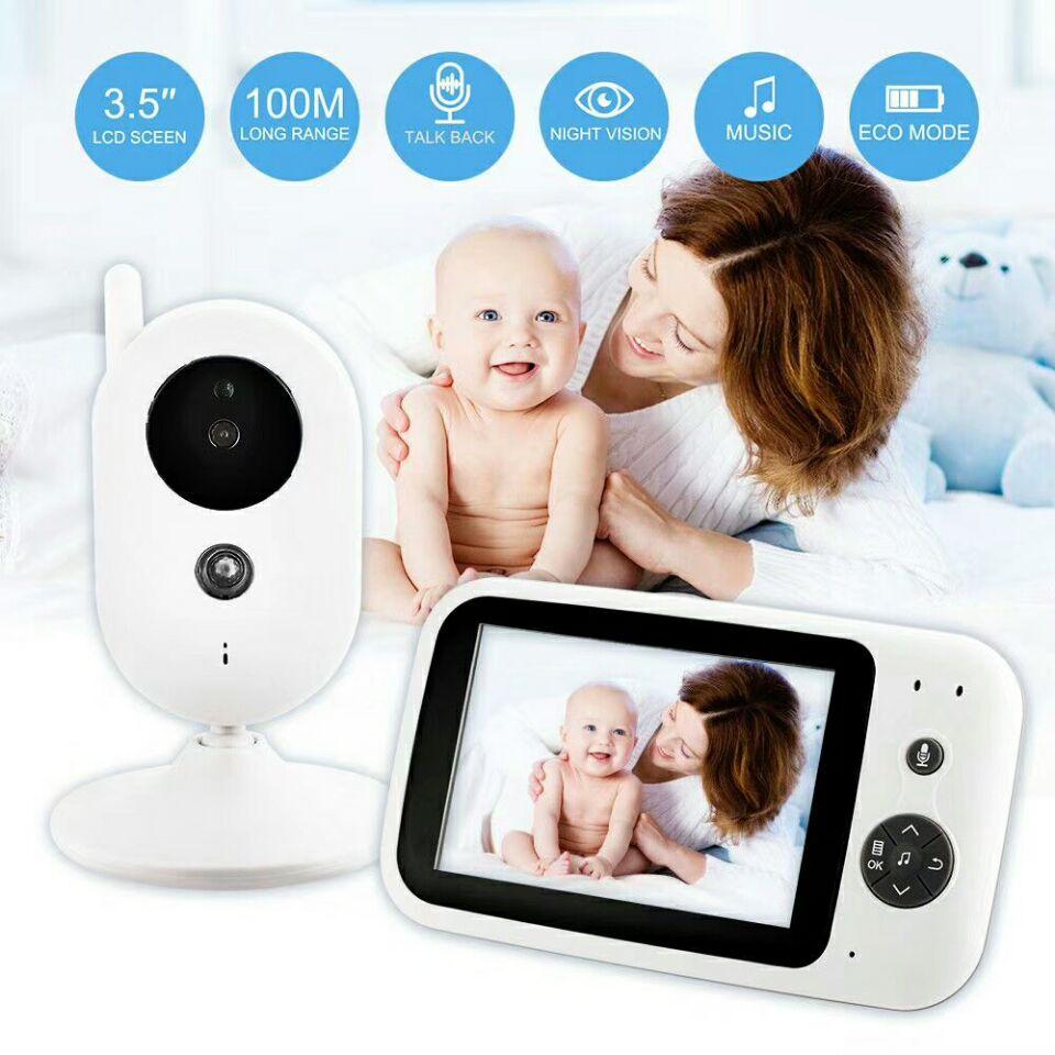 babykam wireless baby monitor baby monitors 3.5 inch LCD IR Night Vision 2 way Talk 8 Lullabies Temperature monitor baby camera help your baby talk