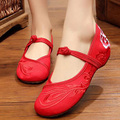Vintage Embroidery Shoes Chinese old Beijing embroidered cloth Flats national dance Soft Canvas Single shoes Sze 34-41