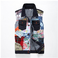Cloudstyle 2017 Men Vest Vintage Design Mens Personality Stitching Washed Jeans Cowboy Waistcoat Slim Fit High Quality