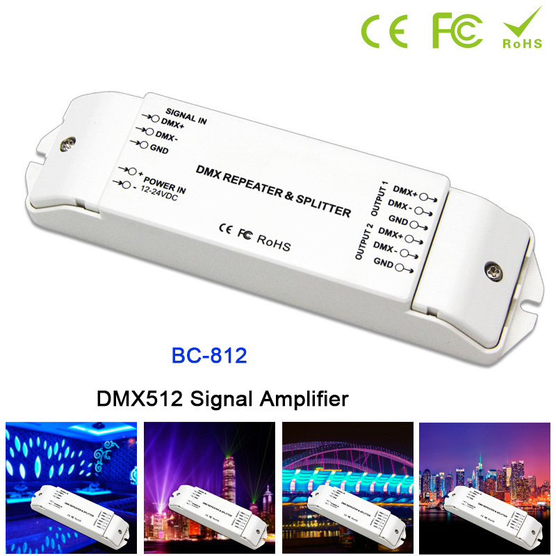 BC-812 DMX512 Signal power repeater DMX Power amplifier 1 to 2 channel output DMX power splitter DMX512 led controller,DC12V-24V 3 channel dmx wifi master controller dmx512 signal output working with 3 channels dmx decoders