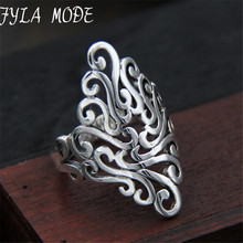 Fyla Mode Retro Sterling Silver S925 Ring Thai Silver Resizable Wide Hollow Ring NOT Allergy Tires Pure Silver 28mm TYC025