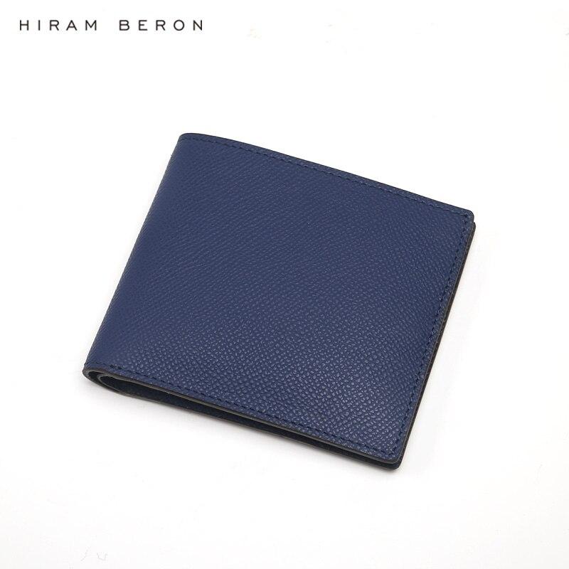 Hiram Beron NOM PERSONNALISÉ SERVICE Hommes En Cuir Véritable Hommes Portefeuilles D'affaires classique de luxe designer RFID blocage funtion