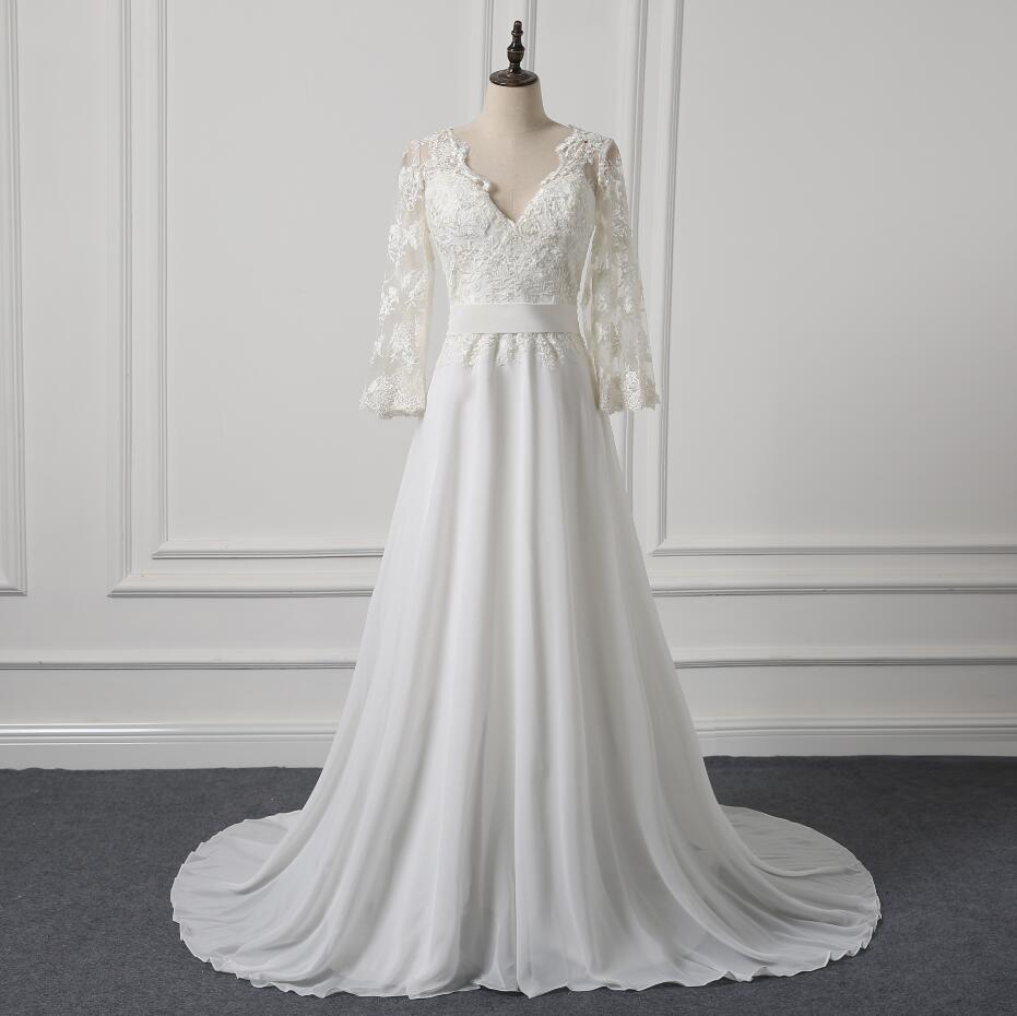 A Line chiffon Simple Wedding Dresses Bohemian three quarter Sleeve ...