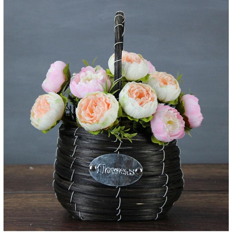 Yo Cho Pivoines Fleurs Artificielles Roses Rouge 6 Tetes Bouquet Rose Blanc Pivoine Bouquet Mariage Decoration De La Maison Jaune Fausses Fleurs